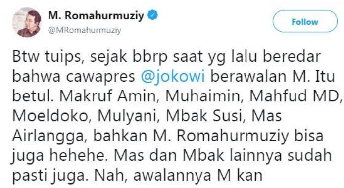 cawapres Jokowi inisial M twitter