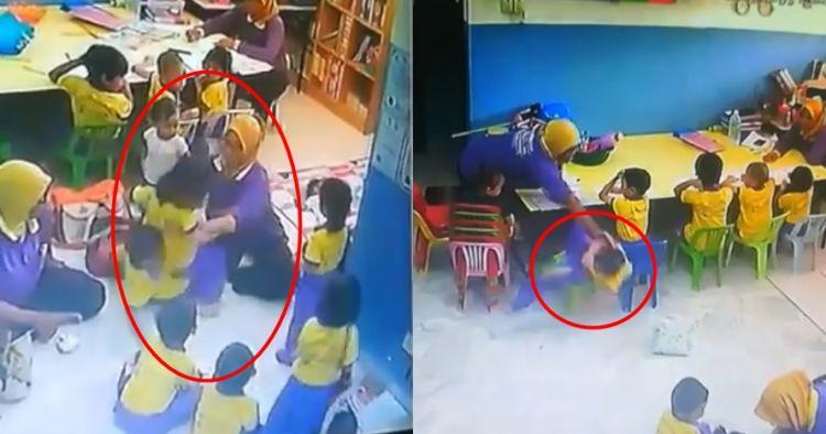 Terekam CCTV, perlakuan guru TK yang aniaya muridnya ini viral
