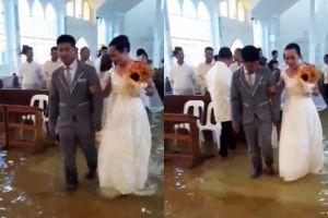 Kisah pernikahan di tengah banjir ini bukti cinta sejati itu nyata