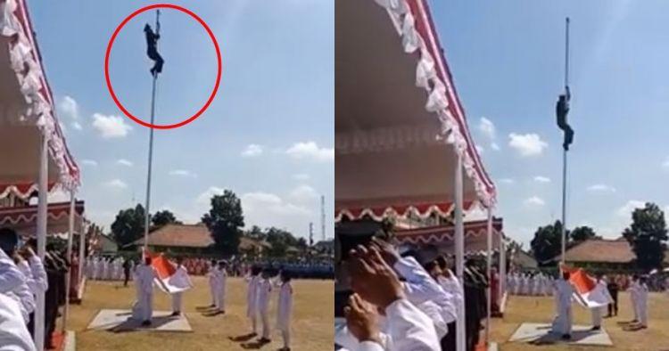 Tali lepas, aksi heroik tentara panjat tiang bendera ini bikin salut