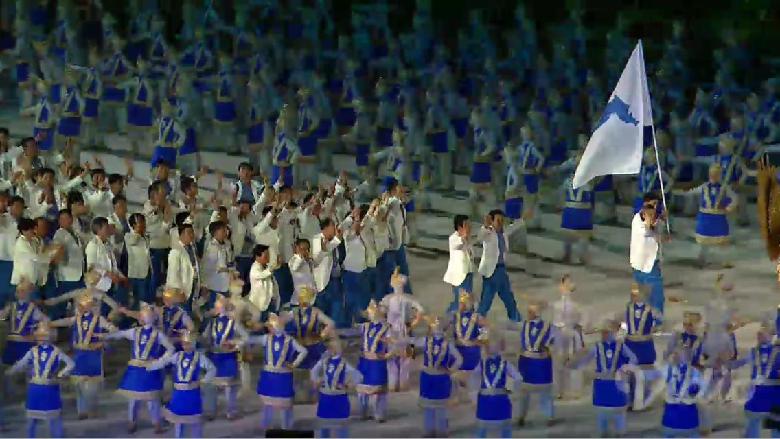 6 Potret kekompakan Korut & Korsel di pembukaan Asian Games 2018