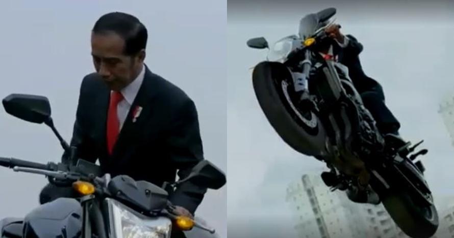 10 Momen mendebarkan saat Jokowi naik motor sport di Asian Games 2018
