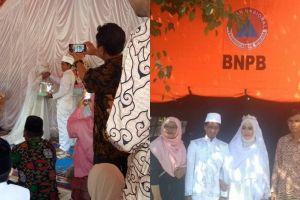 Gempa tak jadi penghalang, sejoli ini menikah di pengungsian Lombok