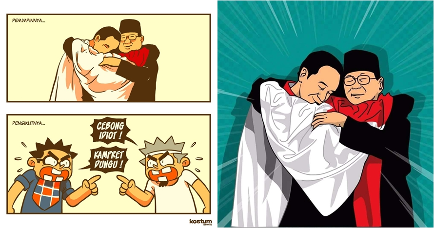 9 Ilustrasi momen langka Jokowi-Prabowo pelukan ini bikin politik adem