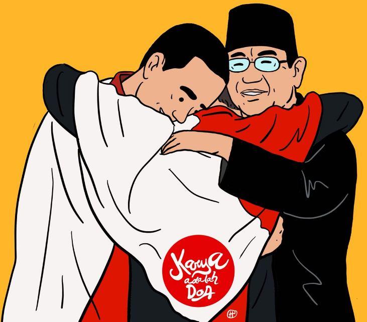 9 Ilustrasi Momen Langka Jokowi Prabowo Pelukan Ini Bikin Politik