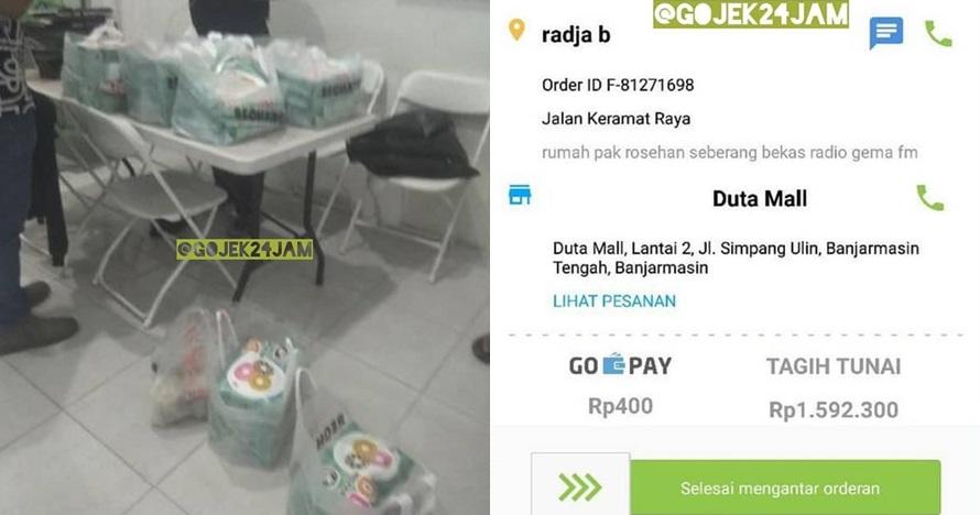 Diorder puluhan kotak donat, driver ojol ini malah rugi Rp 1,5 juta