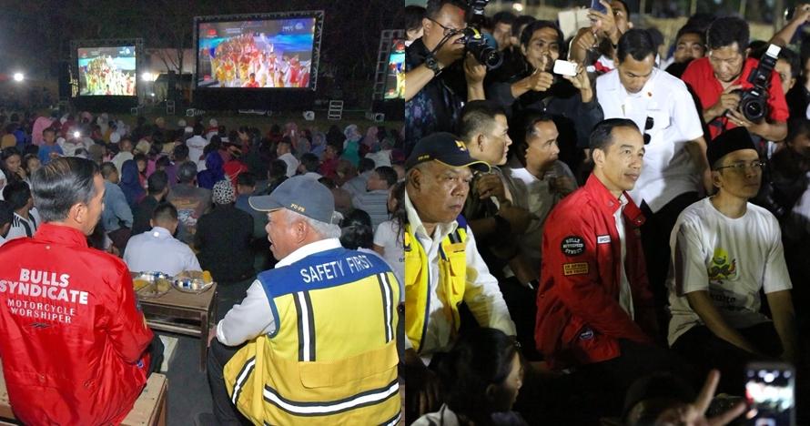 5 Potret Jokowi nonton bareng penutupan Asian Games 2018 di Lombok