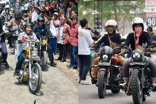 6 Adu gaya Gibran dan Jokowi saat beraksi dengan motor custom