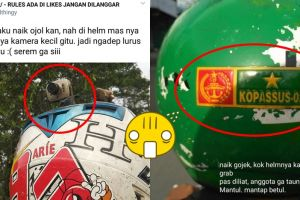 Penampakan helm 7 driver ojek online ini absurdnya bikin salah tingkah