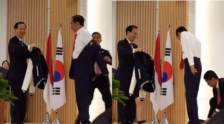 Berganti jaket mahasiswa HUFS Korea, Jokowi sempat 'jatuhkan' jasnya