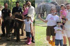 15 Potret keluarga Andhika-Ussy syuting di pusat konservasi gajah