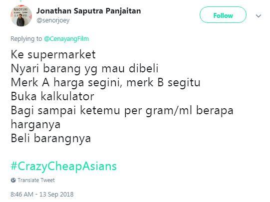 #CrazyCheapAsians © 2018 Twitter