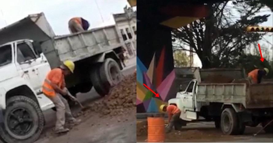 Aksi 2 pekerja isi dan kosongkan bak truk yang sama ini bikin ngakak