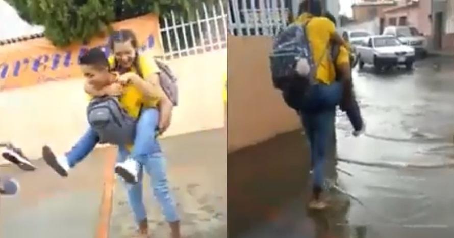Gendong pacarnya menerjang banjir, ending aksi pria ini bikin ngakak