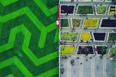 9 Potret alun-alun Kota Bandung ini bak hamparan karpet warna-warni