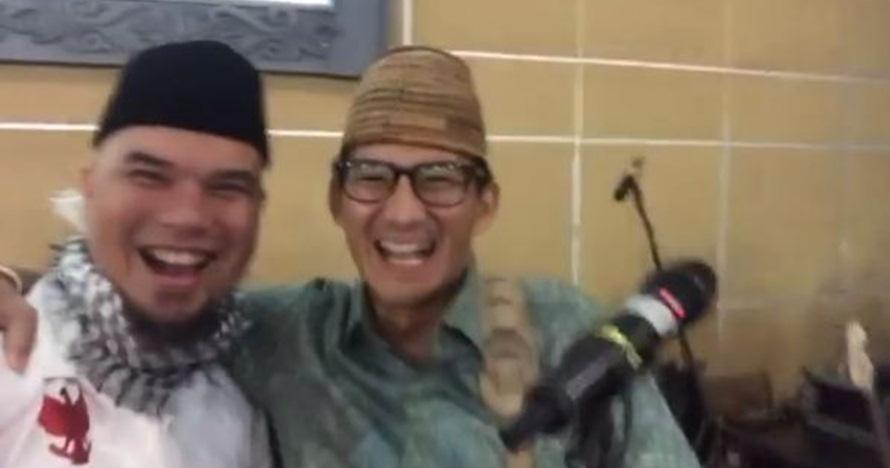 Salurkan hobi main gitar, Sandiaga Uno beri kecupan ke Ahmad Dhani