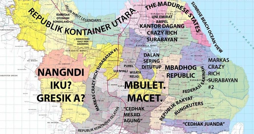 Adu kocak peta Jakarta dan Surabaya berdasarkan julukan masyarakat