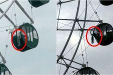 Naik bianglala sendirian, leher bocah ini tergantung di ketinggian