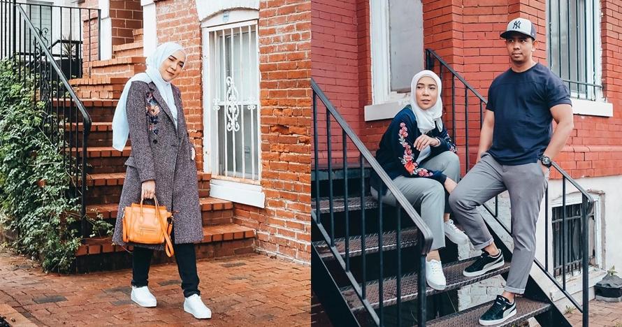 Berhijab, ini 10 gaya fashion Fitri Tropica liburan di Amerika Serikat