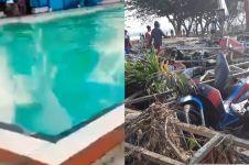 Momen kolam renang Lanal Juanda tiba-tiba berombak besar sebelum gempa