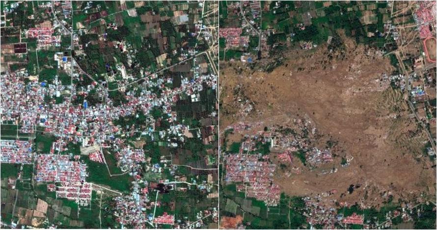 6 Pemotretan satelit kondisi Palu sebelum vs sesudah tsunami, ngeri