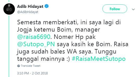 #RaisaMeetSutopo © 2018 Twitter