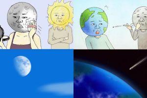 10 Ilustrasi lucu jika Bumi, Matahari & Bulan hidup bak manusia
