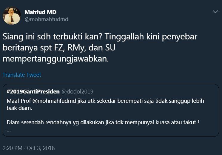 reaksi mahfud md ratna hoaks © Twitter/@mohmahfudmd