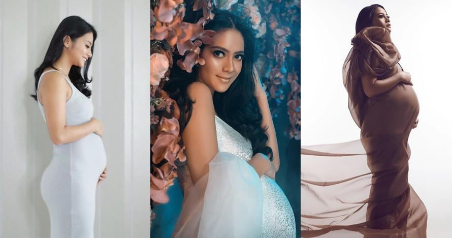 Tiga kali foto maternity, begini 9 gaya pemotretan Rini Yulianti