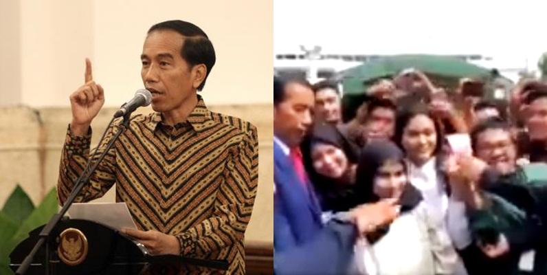 Acungkan dua jari saat foto bareng Jokowi, pria ini ditegur paspampres