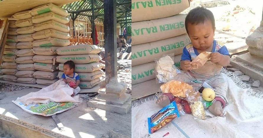 Kisah di balik foto bocah bermain di tumpukan karung semen, memilukan