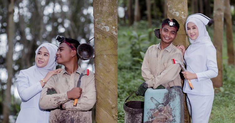 Pacari petani karet, perawat cantik ini prewed antimainstream di hutan