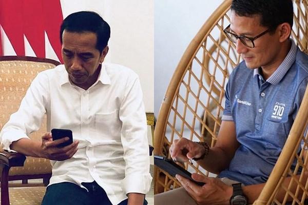 Jokowi Sandi pose sama instagram