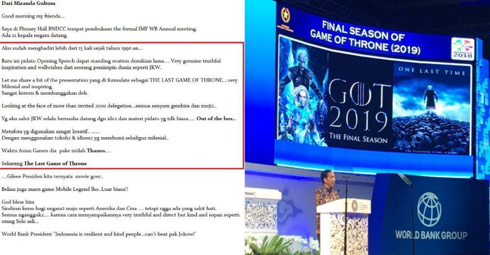 jokowi pidato Game Of Thrones © 2018 brilio.net berbagai sumber