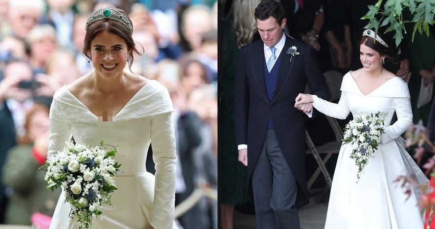 10 Momen royal wedding Putri Eugenie & Jack, gaun terbuka di punggung