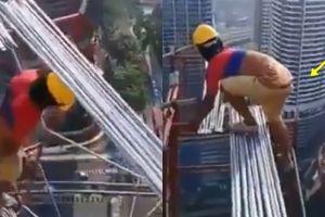 Tanpa alat pengaman, aksi pekerja di gedung tinggi ini bikin gemeteran
