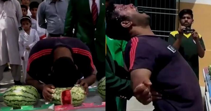 Pria ini pecahkan 49 semangka dengan kepala dalam 1 menit, sangar abis