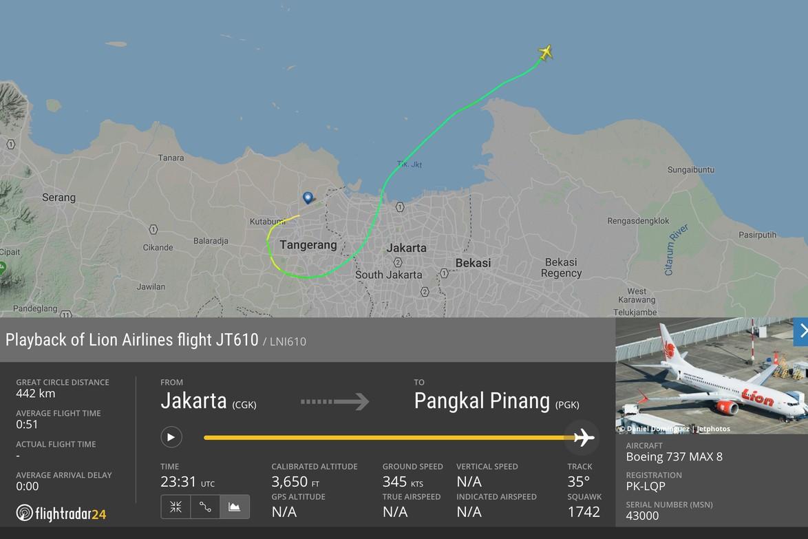 Dipastikan jatuh, ini rute terakhir Lion Air JT 610 yang terekam radar