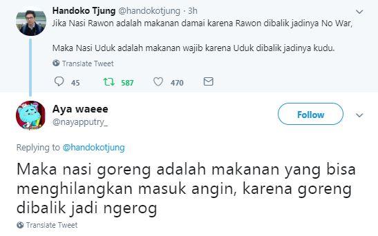 lelucon soal nasi © 2018 twitter