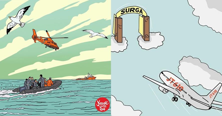 10 Kreasi dukungan untuk tim SAR & korban Lion Air JT 610, bikin haru