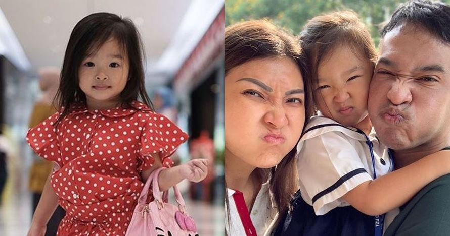 Tingkah lucu Thalia, anak Ruben Onsu saat pakai lipstik
