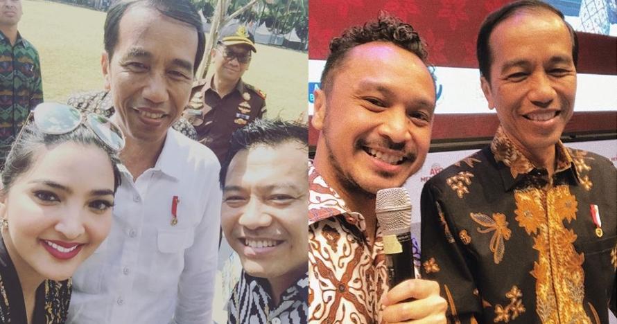 Gaya 20 seleb foto bareng Presiden Jokowi, ekspresif banget