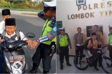 Sempat ditilang dan menangis, anak ini dihadiahi sepeda oleh polisi