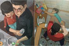30 Ilustrasi gambarkan perjuangan jadi ayah tunggal, bikin terenyuh