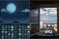 10 Panorama langit disajikan dalam seni pixel 8-bit, kece abis