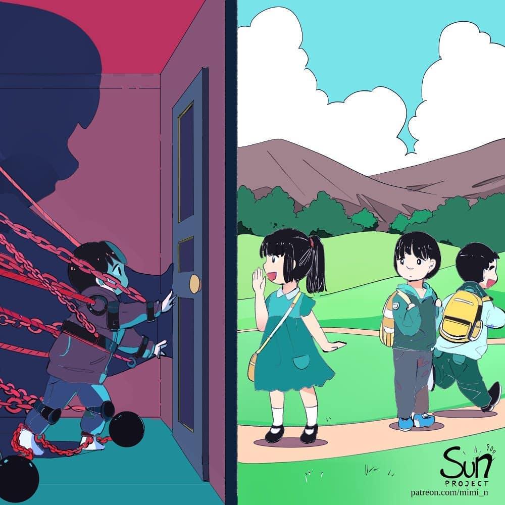 ilustrasi realita kehidupan yang kejam ©Instagram/@futarinokizuna_