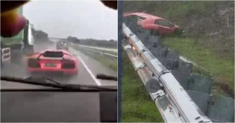 Detik-detik Lamborghini ngebut hingga celaka di tol Solo-Ngawi