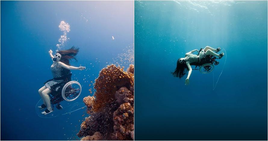 15 Aksi wanita disabilitas menyelam pakai kursi roda, bikin salut