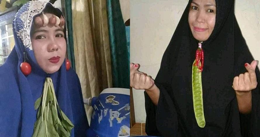 10 Potret lucu emak-emak pakai bros jilbab dari bahan dapur