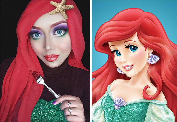13 Gaya hijab wanita ini unik menyerupai rambut Putri Disney